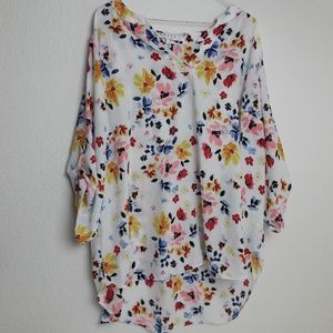 Chaus New York Floral Blouse 2X Career Sheer Loose